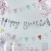La guirlande happy birthday argent