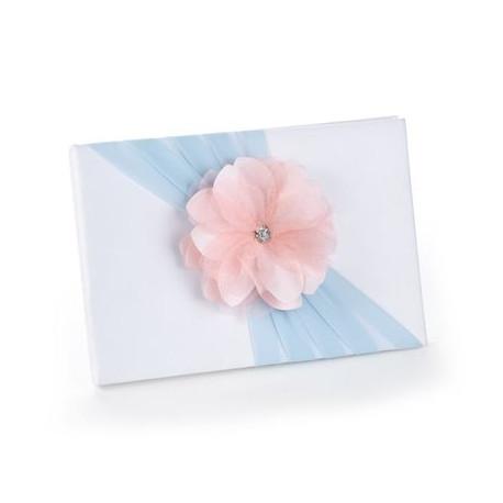 Le Livre D Or Fleur Rose Sur Ruban Bleu