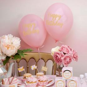 Les 8 ballons happy birthday rose