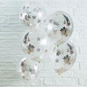 Les 5 ballons confettis étoile argent