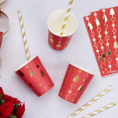 Les 8 gobelets en carton rouge et or Noel