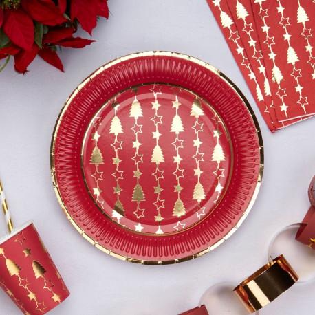 assiette jetable noel rouge et or. Black Bedroom Furniture Sets. Home Design Ideas