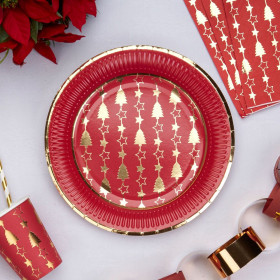 Les assiettes en carton noel rouge et or