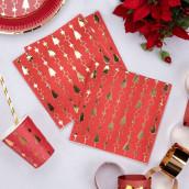 Les 16 serviettes Noel rouge et or