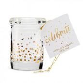 Le pot à dragées en verre confettis or
