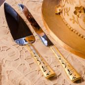 Les couverts à gâteau personnalisés Venise or