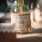 Le vase bouteille bohème jute