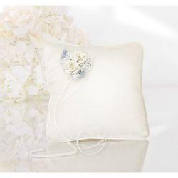 Le coussin d'alliances ivoire fleurs bleues