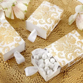 La boite à dragées allumettes damas or
