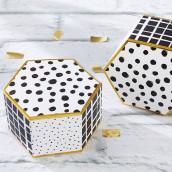 La boite à dragées hexagonale noir et blanc ( x12)