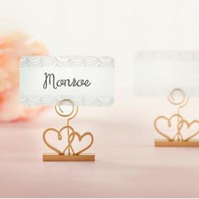 Le porte nom mariage double coeur (x6)