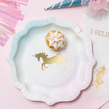 Les assiettes en carton licorne (x12)