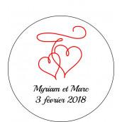 Les 24 stickers personnalisés double coeur