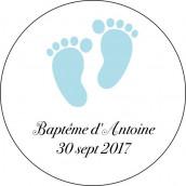 Les 24 stickers personnalisés ronds pieds bébé