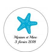 Les 24 stickers personnalisés ronds étoile de mer
