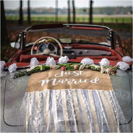 Le kit décoration voiture toile de jute et dentelle