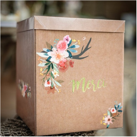 Urne mariage kraft motif fleurs - Fabriquer une urne anniversaire ...