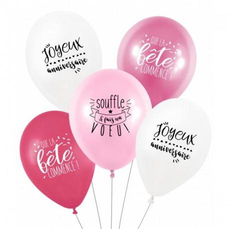 Les ballons anniversaire grenadine (x5)