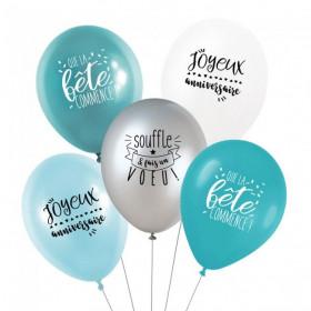 Les ballons anniversaire bleu iceberg (x5)