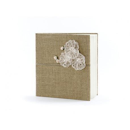 Le livre d'or toile de jute cocarde dentelle