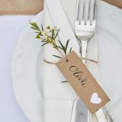 Les 8 étiquettes tags kraft coeur blanc