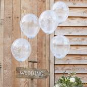 Les 5 ballons confettis blancs
