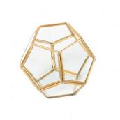 Le terrarium hexagonal ouvert doré