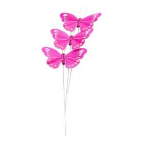 Les 3 papillons en plume (6 coloris)