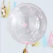 Les 3 ballons géants confettis roses