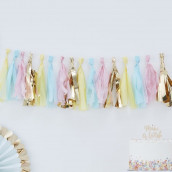 La tassel garland rose, bleu et or