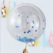 Les 3 ballons géants confettis bleus