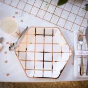 Les 8 assiettes carreaux cuivre