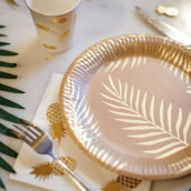 Les assiettes en carton kraft tropical (x8)