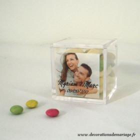 La boite à dragées cube avec photo mariage