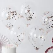 Les 5 ballons confettis cuivre