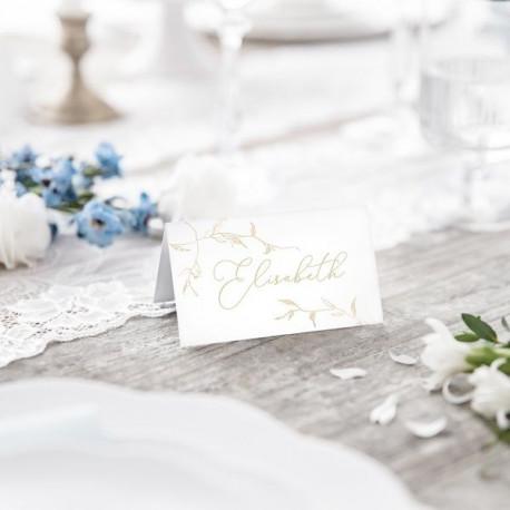 Le carton marque place blanc branchage or