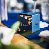 La boite à dragées bleu marine fougère