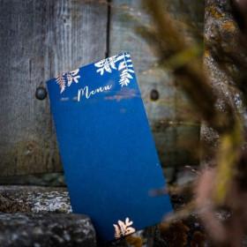 La carte de menu fougère bleu marine (x10)