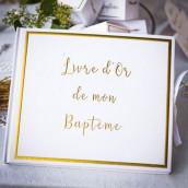Le livre d'or baptême blanc et or