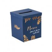 L'urne de mariage bleu marine fougère personnalisable