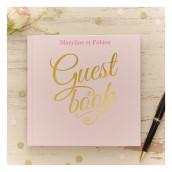 Le livre d'or guestbook rose (personnalisable)