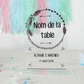Le porte nom de table mariage bohème plexiglas