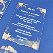 Le menu personnalisé champêtre en plexiglas