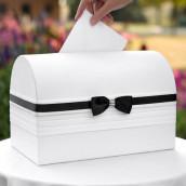 L'urne de mariage coffre blanc ruban noir