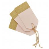 Les 10 étiquettes tag rose et glitter or