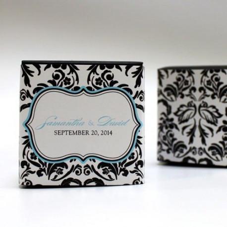 Le sticker personnalisé damas pour boite cube
