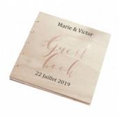 Le livre d'or Guestbook cuivre en bois (personnalisable)