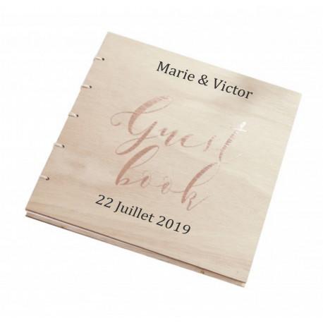 Livre D Or Couverture Bois Inscription Cuivre Pour Mariage