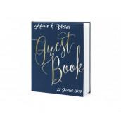 Le livre d'or guestbook bleu nuit et or (personnalisable)
