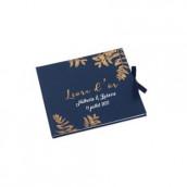 Le livre d'or bleu marine fougère (personnalisable)